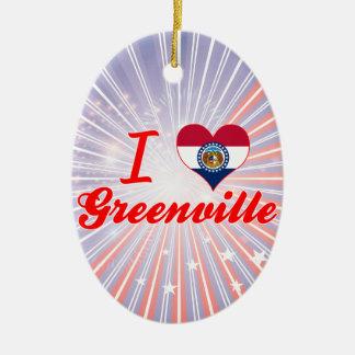 I Love Greenville, Missouri Double-Sided Oval Ceramic Christmas Ornament
