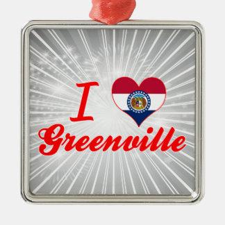 I Love Greenville, Missouri Square Metal Christmas Ornament