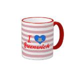 I Love Greenwich, Connecticut Ringer Coffee Mug