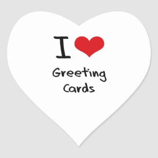 I Love Greeting Cards Heart Stickers