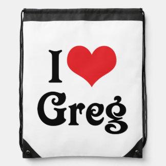 I Love Greg Drawstring Bag