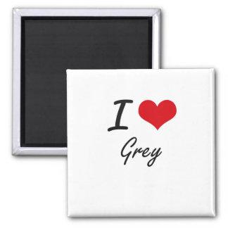 I love Grey 2 Inch Square Magnet