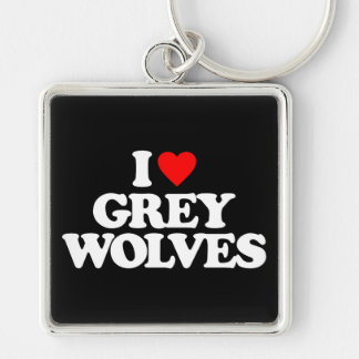 I LOVE GREY WOLVES KEY CHAIN