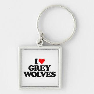 I LOVE GREY WOLVES KEYCHAINS