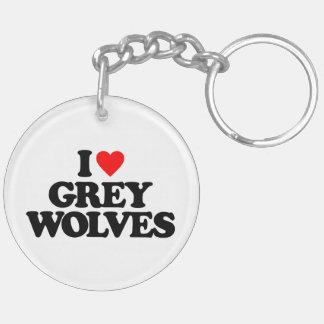 I LOVE GREY WOLVES ACRYLIC KEYCHAIN