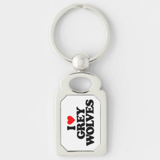 I LOVE GREY WOLVES KEY CHAINS