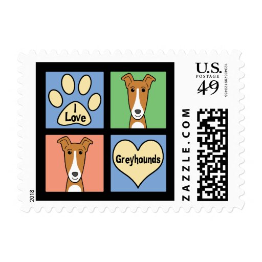 I Love Greyhounds Stamps