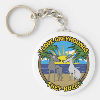 I LOVE GREYHOUNDS THEY RULE KEYCHAIN