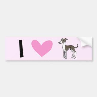 I Love Greyhounds / Whippets / Italian Greyhounds Car Bumper Sticker