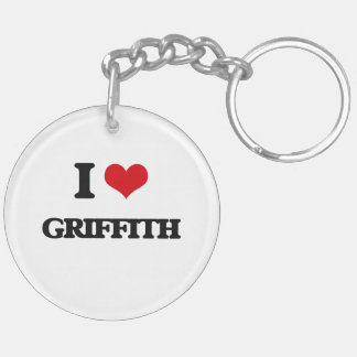 I Love Griffith Double-Sided Round Acrylic Keychain