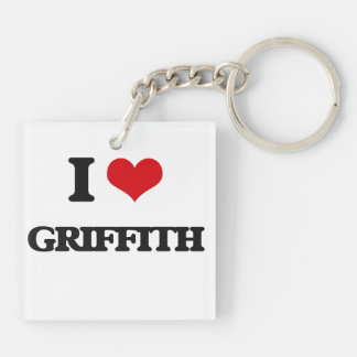 I Love Griffith Double-Sided Square Acrylic Keychain