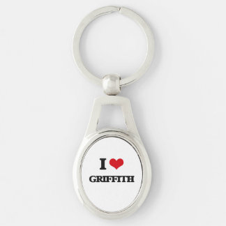 I Love Griffith Silver-Colored Oval Keychain
