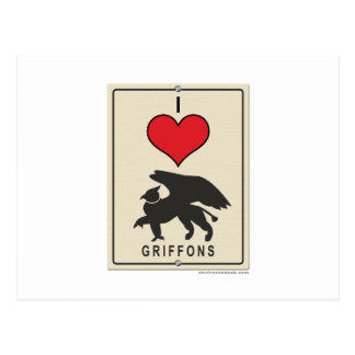 I Love Griffons Postcard