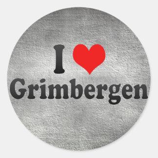 I Love Grimbergen, Belgium Classic Round Sticker