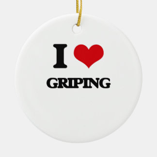 I love Griping Double-Sided Ceramic Round Christmas Ornament