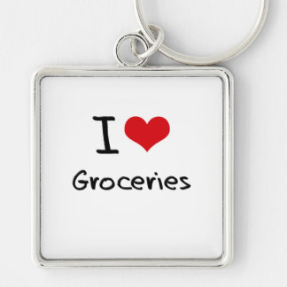 I Love Groceries Keychains