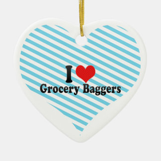 I Love Grocery Baggers Double-Sided Heart Ceramic Christmas Ornament