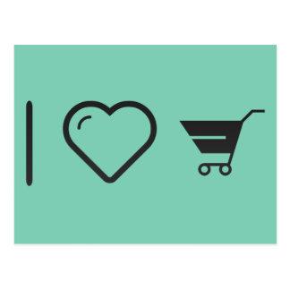 I Love Grocery Carts Postcard