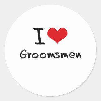 I Love Groomsmen Classic Round Sticker