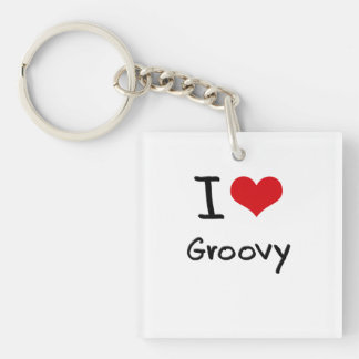 I Love Groovy Single-Sided Square Acrylic Keychain