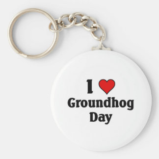 I love Groundhog Day Basic Round Button Keychain