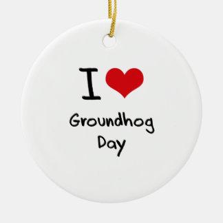 I Love Groundhog Day Ceramic Ornament