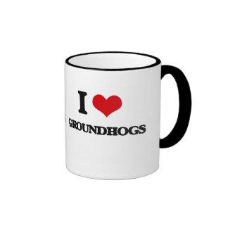 I love Groundhogs Ringer Mug