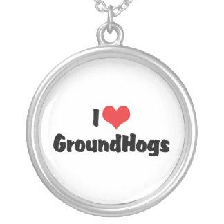I Love Groundhogs Round Pendant Necklace