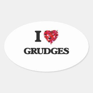 I Love Grudges Oval Sticker
