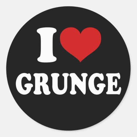 I Love Grunge Classic Round Sticker