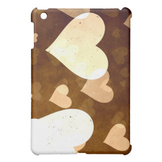 I Love Grunge Light Brown Heart Pattern iPad Mini Cover