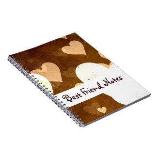 I Love Grunge Light Brown Heart Pattern Spiral Note Book