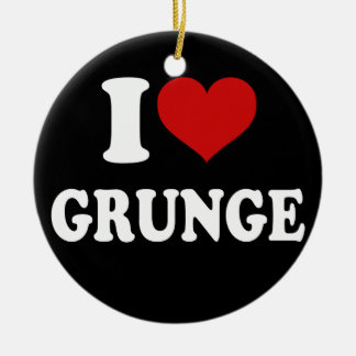 I Love Grunge Double-Sided Ceramic Round Christmas Ornament