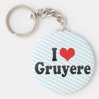 I Love Gruyere Basic Round Button Keychain