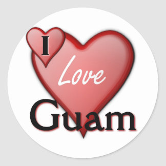 I Love Guam Round Sticker