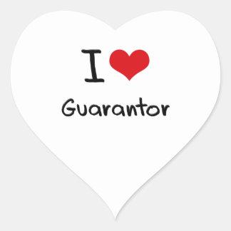 I Love Guarantor Heart Stickers