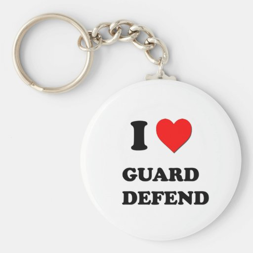 I Love Guard   Defend Basic Round Button Keychain