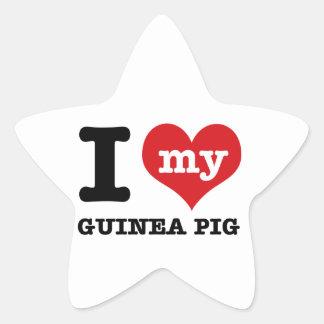 I Love Guinea Pig Star Sticker
