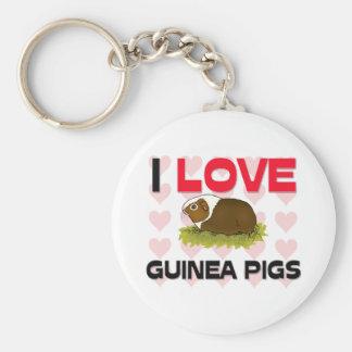 I Love Guinea Pigs Basic Round Button Keychain