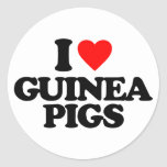 I LOVE GUINEA PIGS ROUND STICKERS