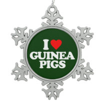 I LOVE GUINEA PIGS SNOWFLAKE PEWTER CHRISTMAS ORNAMENT
