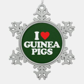 I LOVE GUINEA PIGS SNOWFLAKE PEWTER CHRISTMAS ORNAMENT
