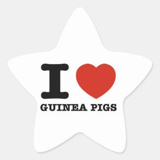 I love Guinea Pigs Star Sticker
