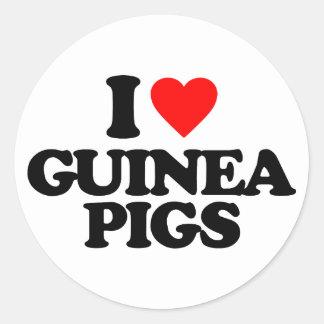 I LOVE GUINEA PIGS ROUND STICKERS