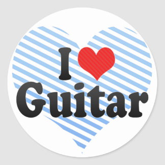 I Love Guitar Classic Round Sticker
