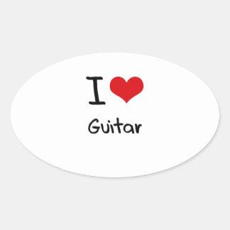 I Love Guitar Oval Sticker