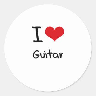 I Love Guitar Round Stickers
