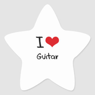 I Love Guitar Star Sticker