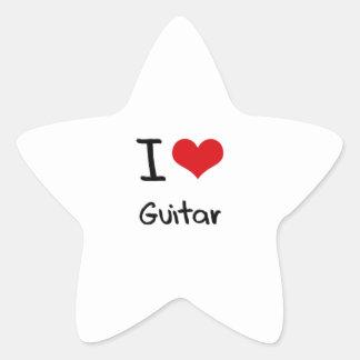 I Love Guitar Star Sticker