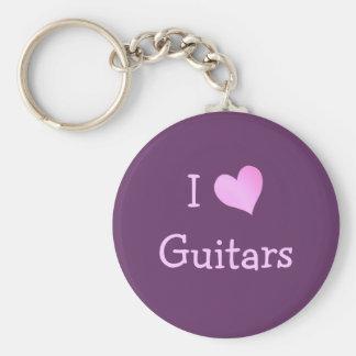 I Love Guitars Keychains